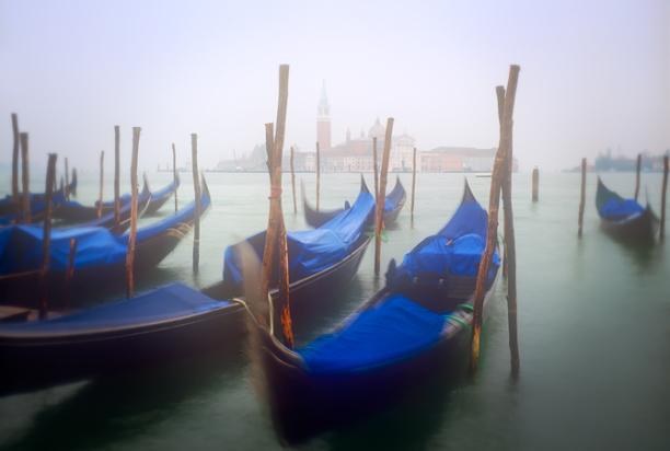 gondolas in fog venice italy