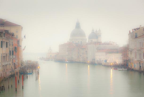 fog on grand canal venice italy